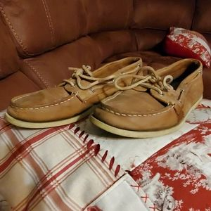 Sperry, leather  top siders. Light brown